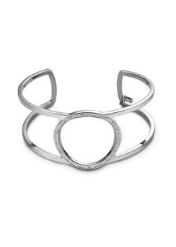 Armband in edelstaal, open bangle, cirkel met preciosa kristallen