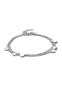 Stainless steel bracelet, 3 chains and 6 hearts