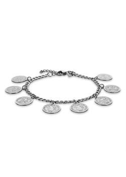 Armband in edelstaal, gourmet ketting met 8 munten