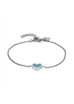 Armband in edelstaal, turquoise hartje met marmereffect