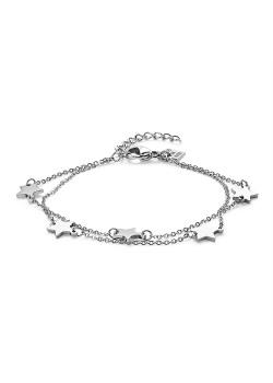 Armband in edelstaal, dubbele ketting met 5 sterretjes