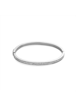 Armband in edelstaal, bangle, 2 rijen kristallen