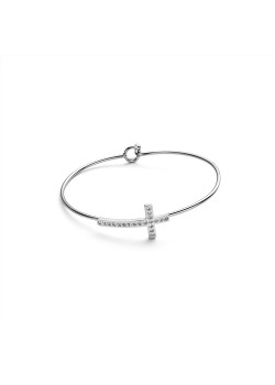 Stainless steel bracelet, cross in crystals