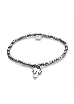 Armband in edelstaal, palmboom aan bolletjes op elastiek