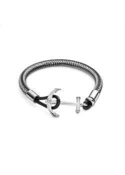 Armband in edelstaal, gevlochten mat staal en zwart, anker