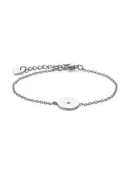 Armband in edelstaal, rondje met kristal