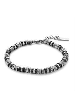 Armband in edelstaal, ringetjes in zilver en zwart