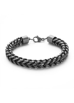 Armband in edelstaal, vierkante gourmet ketting, grijs