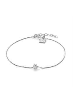 Bracelet en argent, Boule incrustée de cristeaux sur chaîne vénitiene