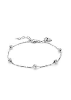 Armband in zilver, 5 kristallen bolletjes
