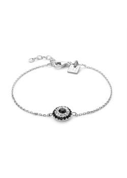 Armband in zilver, bloem met zwarte en witte kristallen