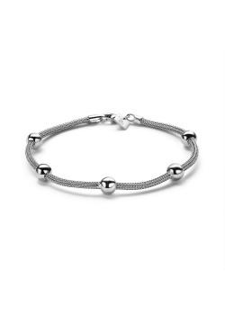 Armband in edelstaal, slangenketting met 5 bollen van 6 mm