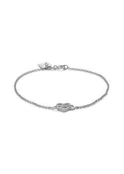 Armband in zilver, hartje en infinity, zirkonia