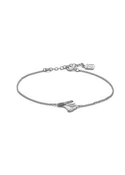 Silver bracelet, gingko biloba leaf