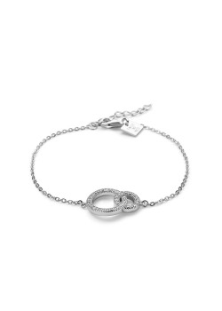 Bracelet en argent, 2 cercles incrustés de zircons