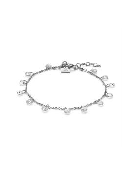 Armband in zilver, 13 hangende kristallen