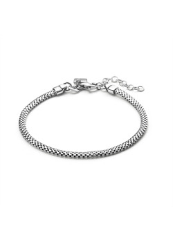 Armband in zilver, platte, holle schakelketting
