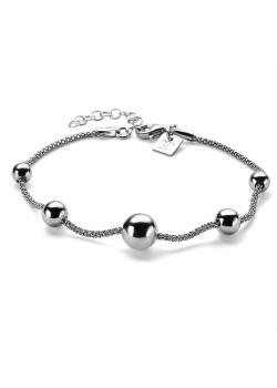 Armband in zilver, 5 bollen op ketting