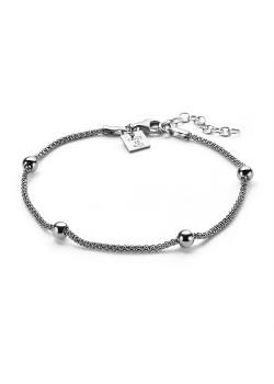Armband in zilver, 4 bollen, 4 mm op ketting