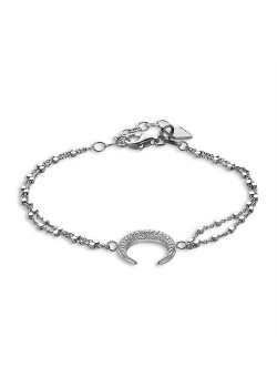 Armband in zilver, double chain, horn in zirconia