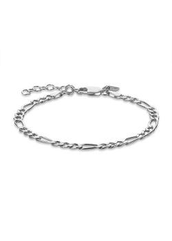 Armband in zilver, figaro schakel, 4 mm