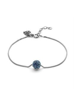 Armband in zilver, bol 7 mm, bermudablauwe kristallen