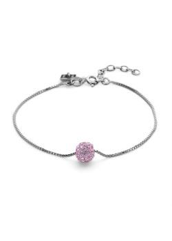 Armband in zilver, bol 7 mm, roze kristallen