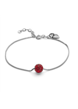 Silver bracelet, 7 mm ball with red crystals