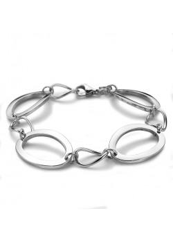 bracelet en acier poli, ovales ouverts