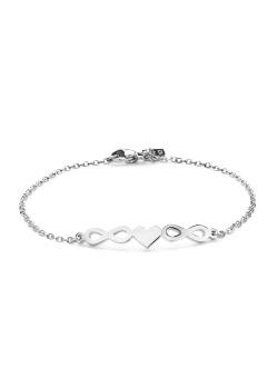 armband in edelstaal, hartje tussen 2 infinities