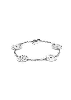 armband in edelstaal, schijfjes met bloem motief