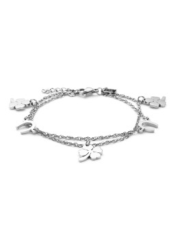 stainless steel bracelet, clovers and horseshoes