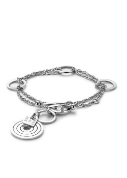 armband in edelstaal, dubbele ketting, cirkels
