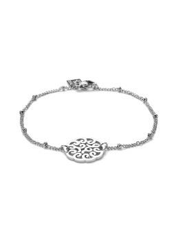Bracelet en acier, médaillon ajouré art déco