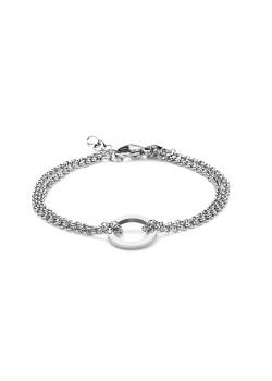 armband in edelstaal, dubbele ketting en cirkel