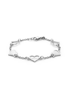 stainless steel bracelet, open and mother of pearl hearts