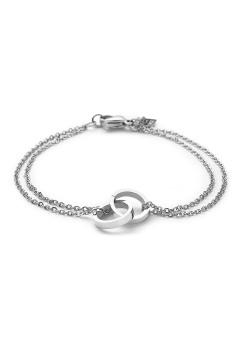 Bracelet en acier, chaîne double, anneaux enlacés