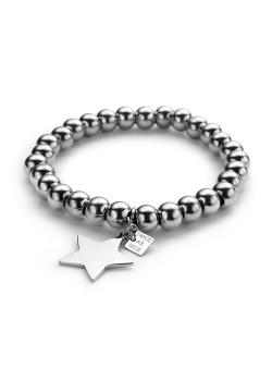 Bracelet en acier, perles de 8mm, motif étoile
