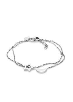 Bracelet en acier poli, lune et étoile