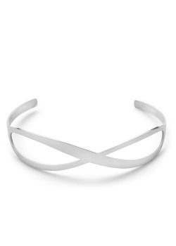 Bracelet en acier poli, infinity rigide