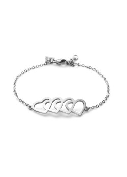 Stainless steel bracelet, 4 hearts