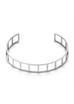 Armband in edelstaal, bangle open vierkanten