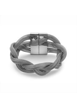 Armband in edelstaal, brede vlecht