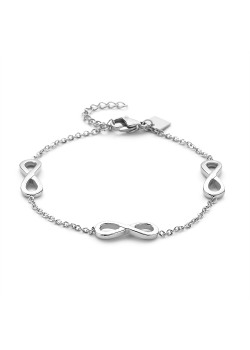 Armband in edelstaal, 3 infinities