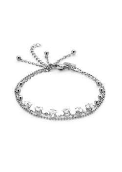 Armband in edelstaal, vierkante kristallen