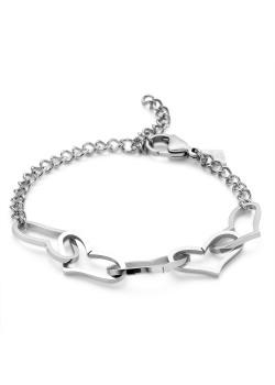 Armband in edelstaal, 5 open harten