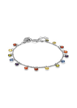 Silver bracelet, multi-coloured stones