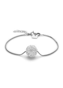Armband in zilver, bol van 12 mm met witte kristallen
