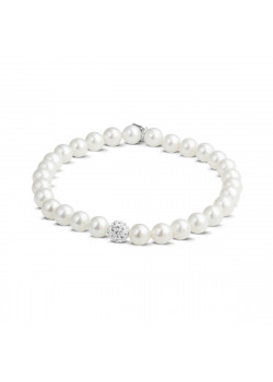 Silver bracelet, 6 mm pearls and a small crystal ball