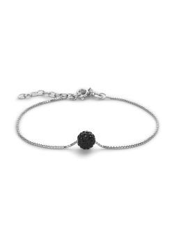 Bracelet en argent, boule de 7mm incrustée de cristaux noirs
